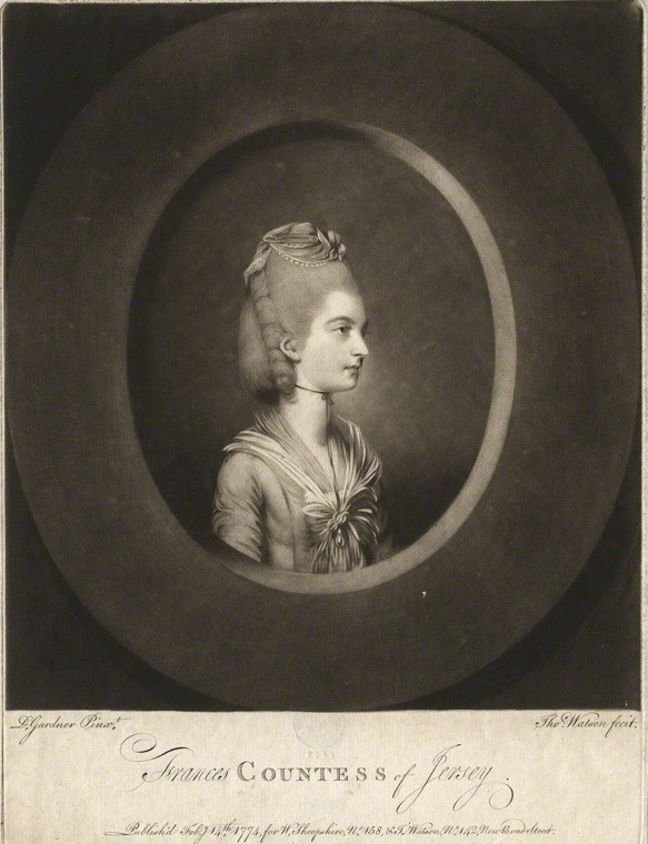NPG D3174; Frances Villiers (nÈe Twysden), Countess of Jersey by Thomas Watson, after  Daniel Gardner